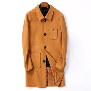 RM304.25-Mid-Length Woolen Single-breasted Trench Coat