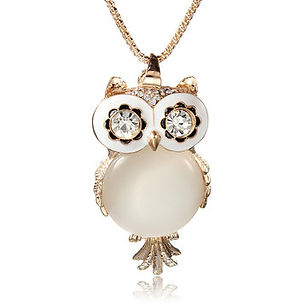 Owl Opal Crystal Rhinestone Gemstone Long Charm Necklace for Women - RM33.63