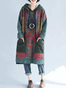 Ethnic Style Retro Hooded Long Sweatshirt Dr -US$55.99