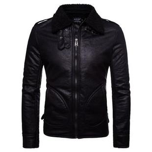 PU Leather Warm Black Shearling Coat -US$64.88