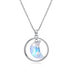 925 Silver Crystal Moon Charm Necklace-US$34.64