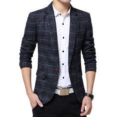99%Cotton British Plaid Design Business Blazers-US$43.99