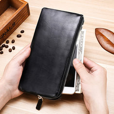 Men Genuine Leather Slim Multi-function Long Wallet