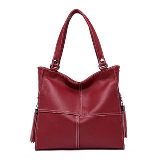 Women Genuine Leather Solid Handbag -US$38.91
