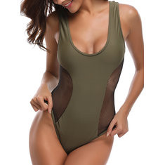 Mesh Patchwork Breathable One Piece-RM52.43