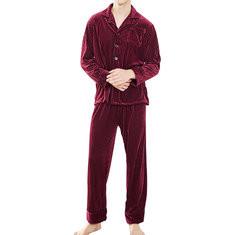 Velvet Fleece Thermal Woven Pajamas Sets-US$37.99