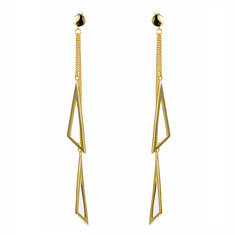 JASSY® 925 Silver Triangle Tassels Gold Earrings-US$24.74