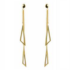JASSY® 925 Silver Triangle Tassels Gold Earrings-US$24.74