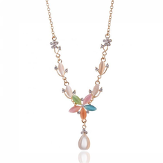 Fashion Pendant Gold Necklace Colorful Drop Flower Charm Chain-RM42.86