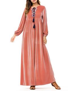 Velvet Chest Embroidery Muslim Dress -US$46.80