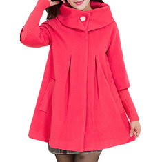 Turtleneck Solid Color Cape Coat-RM249.13