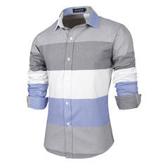 Mens Patchwork Striped Printing Slim Shirt-US$19.99