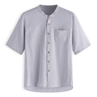 Two-Sided Men Solid Color Chinese Style Buttons Closure Loose Cotton Shirts-US$17.88