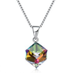 925 Silver Cube Crystal Charm Necklace-US$34.64