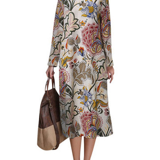 Chinese Style Floral Printed Long Sleeve O Neck Dresses -US$27.99