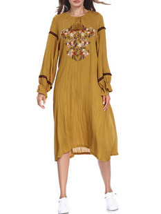 Floral Embroidered Long Sleeve Printed Dress -US$42.52