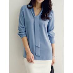 Solid Color Long Sleeve Bow Streamer Chiffon Shirt-RM91.52