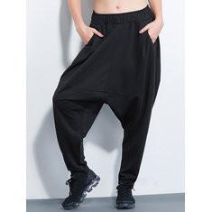Black Elastic Waist Harem Pants-RM158.91