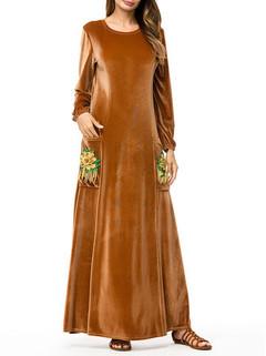 Velvet Embroidery Pocket Islam Muslim Dress -US$46.80
