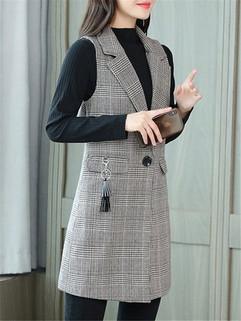 Women's Vest Fashion Turn Down Collar Plaid-RM145.50