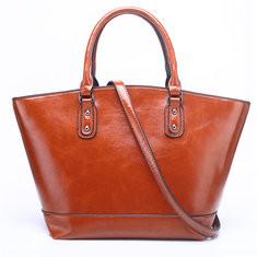 Women Wax Leather Tote Bag Handbag Shoulder Bag-RM109.18