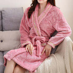 Women Winter Soft Flannel Long Sleeve Bathrobe-US$22.95