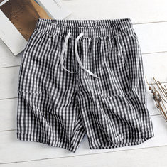Plaid Elastic Waist Drawstring Board Shorts-US$13.03