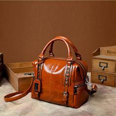 Women Oil Leather Vintage Tote Bag Handbag Crossbody Bag-RM116.67
