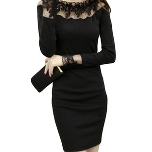Lace Stitching Long Sleeve Bodycon Dress -US$23.65