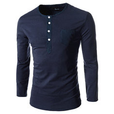 Casual Crew Solid Color  Long Sleeve T Shirt-US$16.79