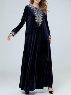 Muslim Velvet Maxi Dress -US$56.00