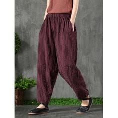 Jacquard Elastic Waist Vintage Pants-RM240.5