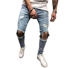Hole Knee Skinny Fashion Jeans -US$18.19
