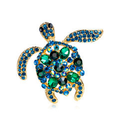Cute Rhinestone Turtle Brooch-US$9.49