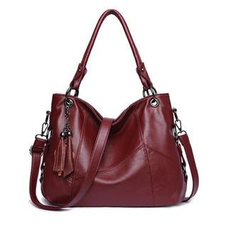 Genuine Leather Tassel Pendant Plaid Handba-US$38.08