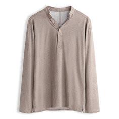 Solid Color Half Button T-shirt for Men-US$24.71