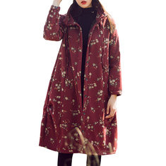 Floral Printed Loose Thick Warm Vintage Coat-RM219.06