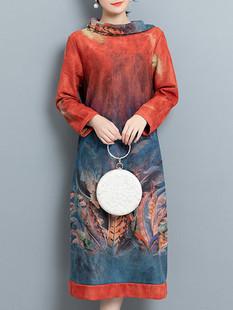 Suede Print High Collar Dress -US$62.99