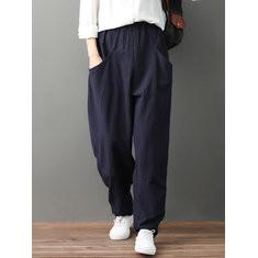 Elastic Waist Pockets Casual Pants-RM180.39