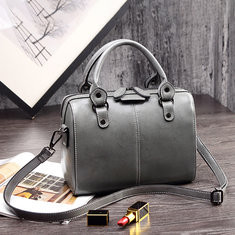 Women Solid PU Leather Boston Handbag Leisure Crossbody Bag-RM123.21