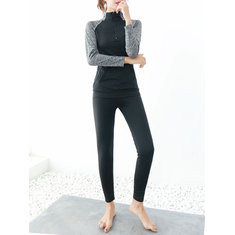 Patchwork Blouse And  Pants Tracksuit-RM118.46