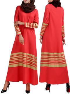 Contrast Striped Long Sleeved Muslim Dress -US$33.44