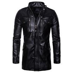 Mid-Length PU Leather Casual Jacket-US$61.93