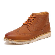 Men Carved Brogue Casual Leather Boots-RM92.27