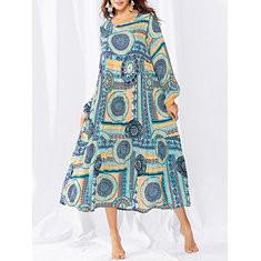Bohemian Long Sleeve Print Dress-RM128.86