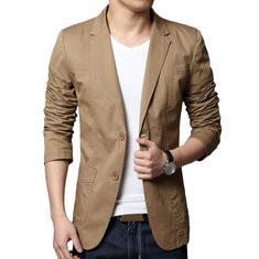 Mens 100% Cotton Slim Fit Solid Color Long Sleeve Blazer -RM155.66