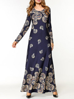 Muslim Print Long Sleeve Long Dress -US$37.99