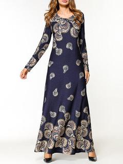 Muslim Print Long Sleeve Long Dress -US$37.99