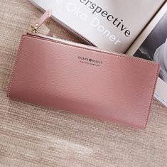 Women Wallet 6 Card Slots Clutch Bag Solid Long Purse-RM47.93