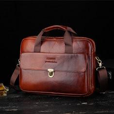 Men Genuine Leather Vintage Business Briefcase Laptop Bag-US$51.49